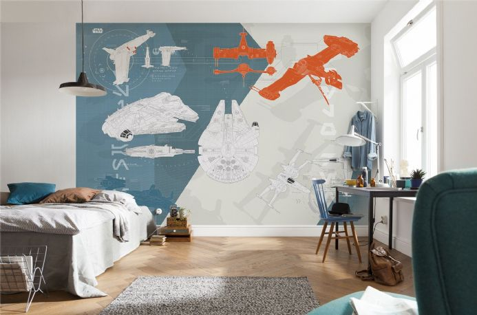 STAR WARS Technical Plan wall mural wallpaper | Buy it now